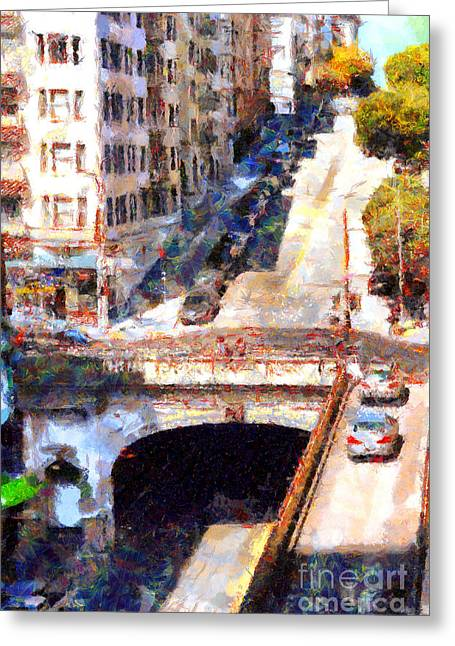 Stockton Street Greeting Cards - Stockton Street Tunnel San Francisco . 7D7499 Greeting Card by Wingsdomain Art and Photography
