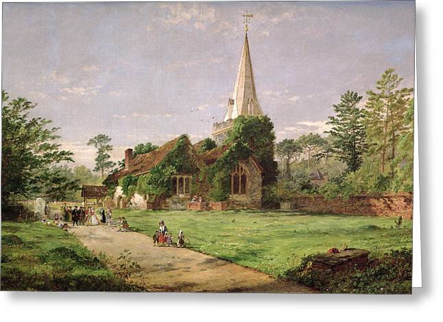 Rural Schools Paintings Greeting Cards - Stoke Poges Church Greeting Card by Jasper Francis Cropsey