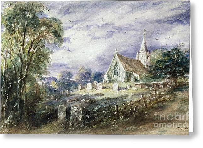 Gravestones Greeting Cards - Stoke Poges Church Greeting Card by John Constable