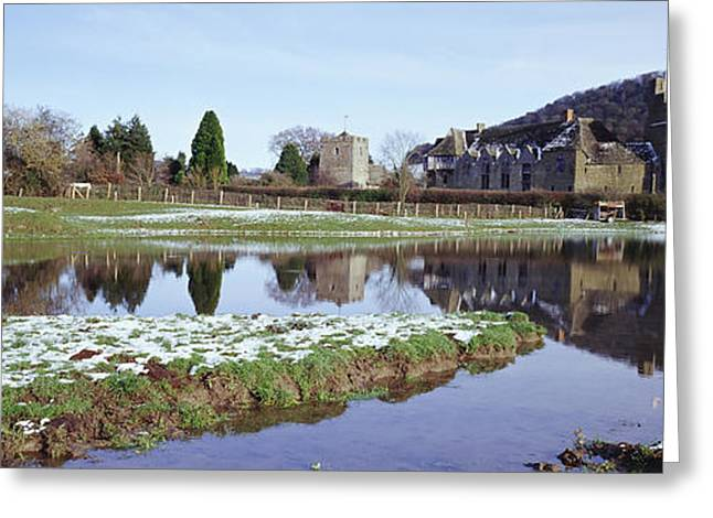 Snowy Day Greeting Cards - Stokesay Castle In Winter Greeting Card by Axiom Photographic