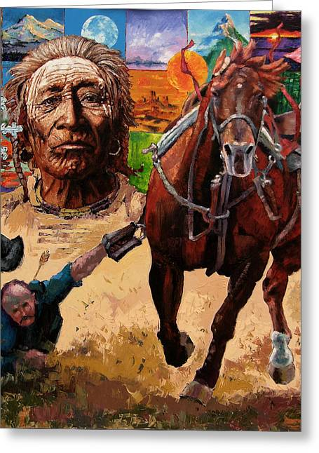 Horses Paintings Greeting Cards - Stolen Land Greeting Card by John Lautermilch