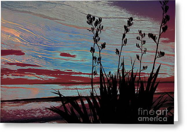 Abtract Greeting Cards - Stolen Sunset Greeting Card by Karen Lewis