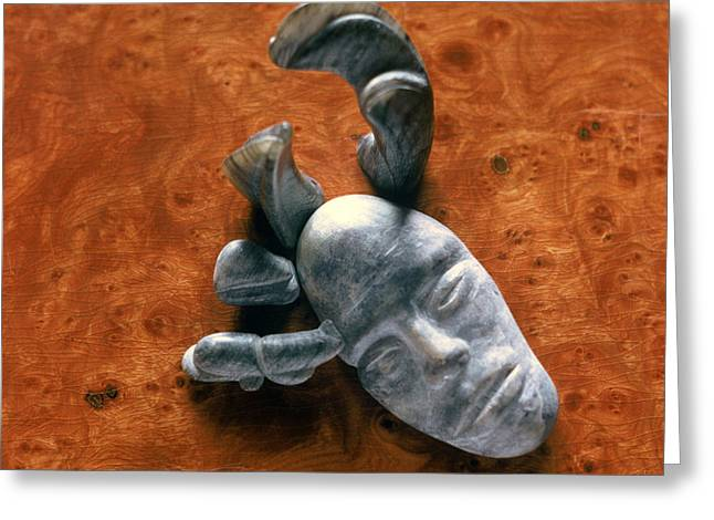 Face Reliefs Greeting Cards - Stone Aged Spirit Greeting Card by Charles Dancik