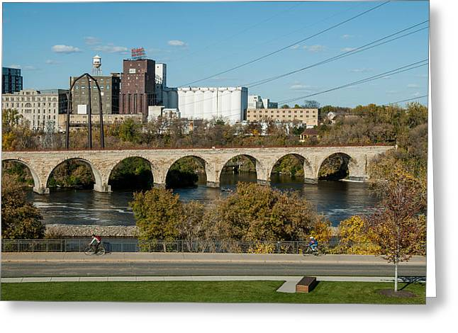 Up201209 Greeting Cards - Stone Arch Bridge Five Greeting Card by Josh Whalen