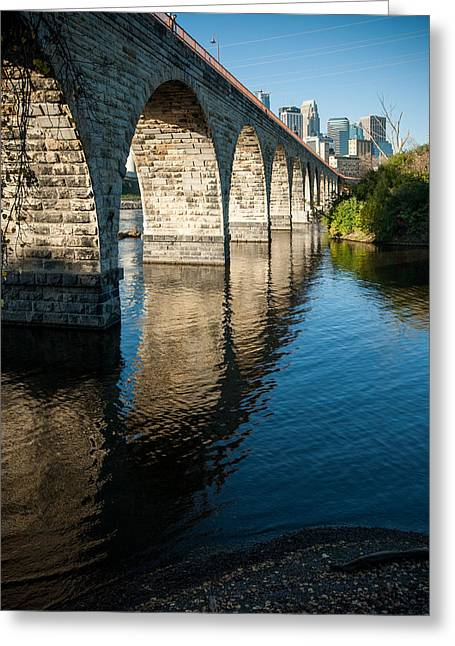 Up201209 Greeting Cards - Stone Arch Bridge Two Greeting Card by Josh Whalen