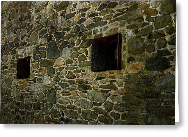 Pa Barns Greeting Cards -  Vintage Stone Wall in Radnor  Pa Greeting Card by Heinz G Mielke