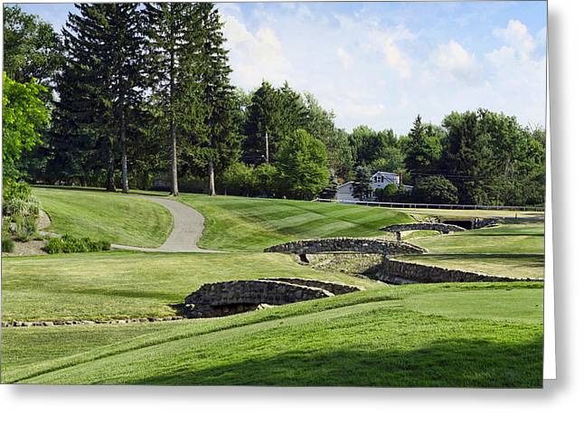 Golf Hole Greeting Cards - Stone Bridge Fairway Greeting Card by Peter Chilelli