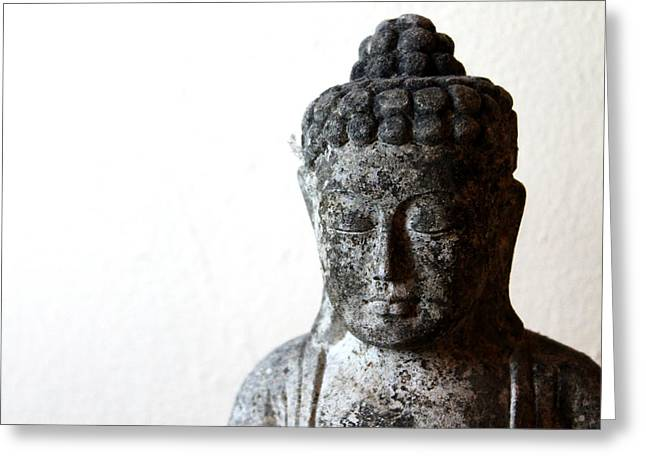 Siddharta Greeting Cards - Stone Buddha Greeting Card by Janita Topan
