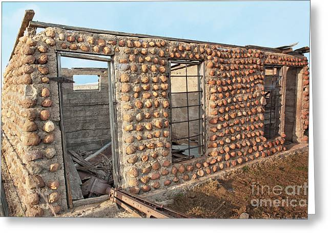 Old Cabins Greeting Cards - Stone Cabin Derelict Greeting Card by Betty LaRue