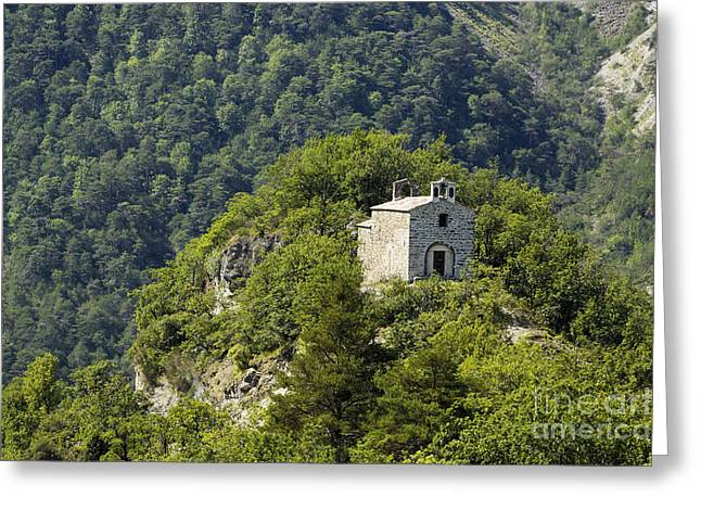 Southern France Greeting Cards - Stone Chapel Perched on a Peak Greeting Card by Jon Boyes