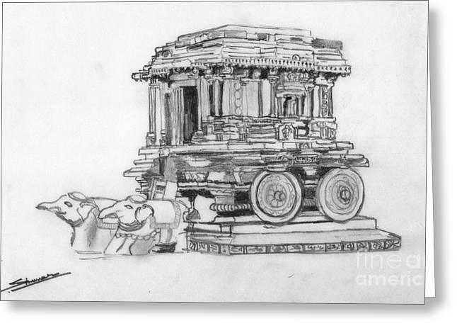 Shashi Kumar Greeting Cards - Stone Chariot Hampi Vijayanagar Empire Greeting Card by Shashi Kumar