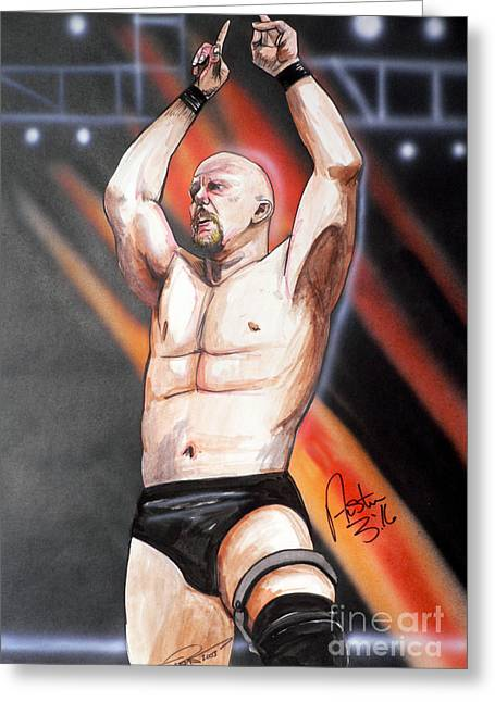 Cold Drawings Greeting Cards - Stone Cold Steve Austin Greeting Card by Dave Olsen
