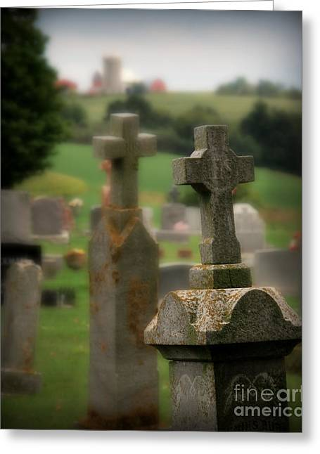 Barn Yard Greeting Cards - Stone Cross Greeting Card by Perry Webster