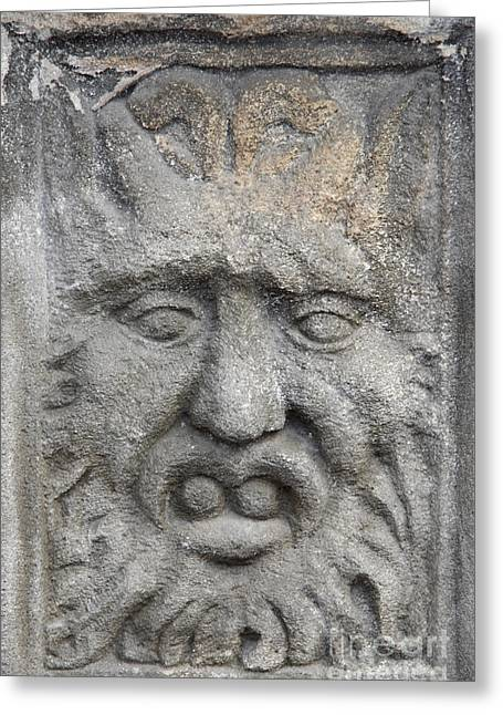Architecture Sculptures Greeting Cards - Stone Face Greeting Card by Michal Boubin