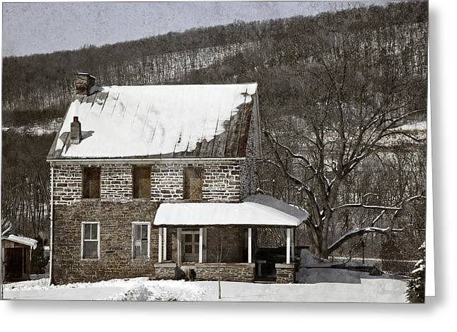 Winter Scenes Rural Scenes Greeting Cards - Stone Farmhouse In Snow Greeting Card by John Stephens