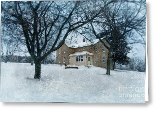 Winter Scenes Rural Scenes Greeting Cards - Stone Farmhouse in Winter Greeting Card by Jill Battaglia