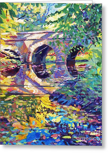 Stone Bridge Greeting Cards - Stone Footbridge Greeting Card by David Lloyd Glover