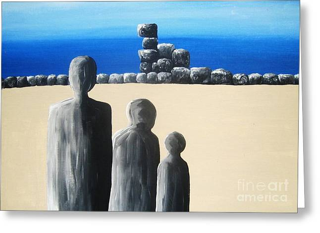 Sand Man Greeting Cards - Stone Horizon Greeting Card by Reb Frost
