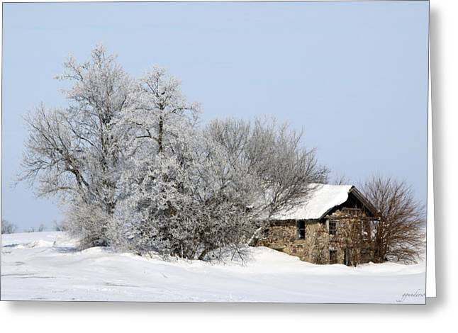 Winter Photos Greeting Cards - Stone House in Winter Greeting Card by Gary Gunderson