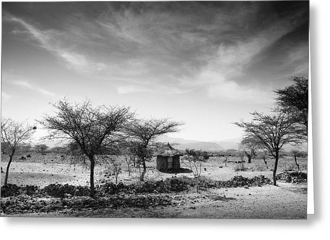 Overcast Day Greeting Cards - Stone Hut Set In Grassland Plains Greeting Card by David DuChemin