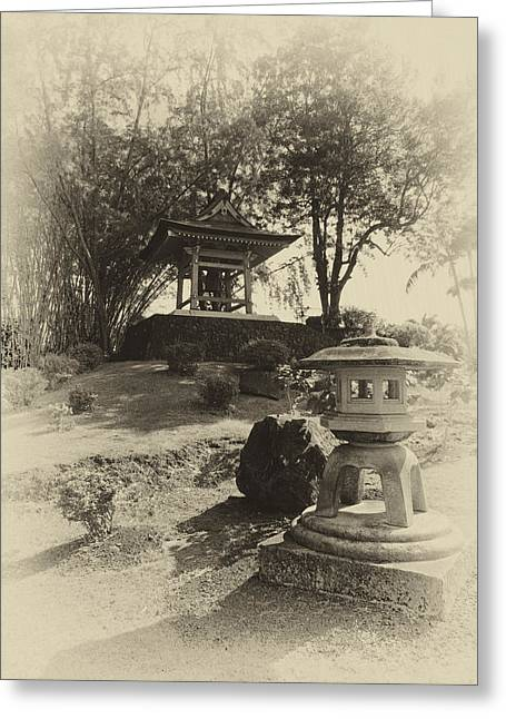 Stone Lantern And Temple Bell Greeting Card by Daniel Hagerman