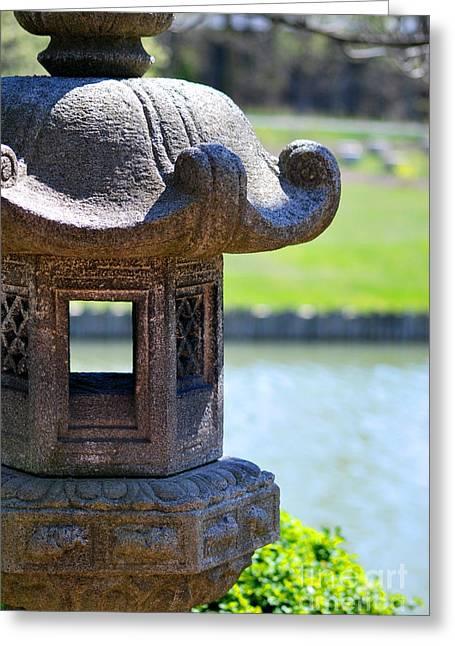Chicago Botanic Garden Greeting Cards - Stone Lantern Greeting Card by Nancy Mueller
