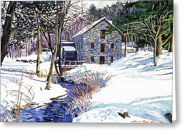 Snow Scene Paintings Greeting Cards - Stone Mill Greeting Card by David Lloyd Glover