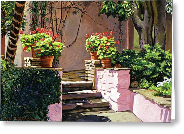 Most Paintings Greeting Cards - Stone Patio California Greeting Card by David Lloyd Glover