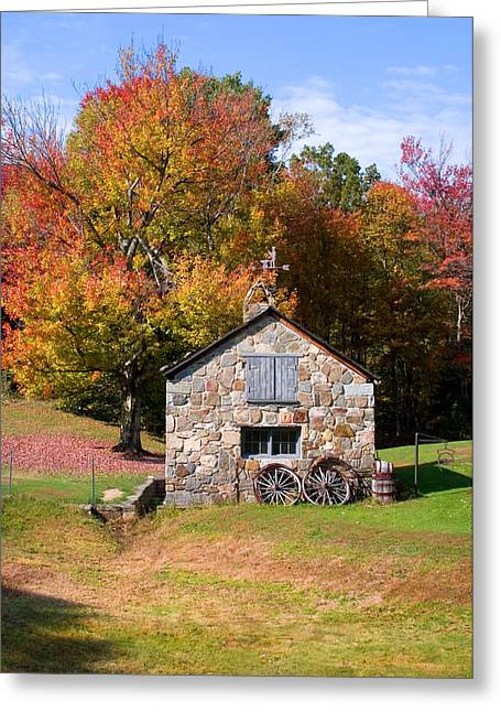 4 Stones Greeting Cards - Stone Shed Autumn Greeting Card by Larry Landolfi