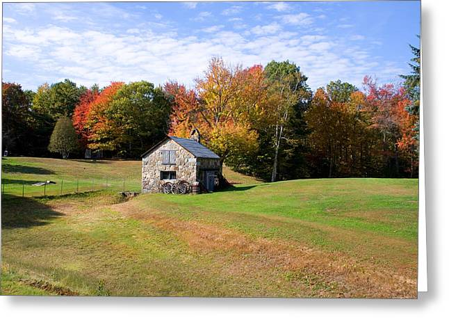 Shed Greeting Cards - Stone Shed Wide Autumn Greeting Card by Larry Landolfi