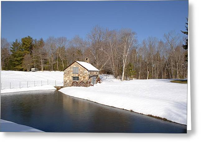 Shed Greeting Cards - Stone Shed Wide Winter Greeting Card by Larry Landolfi