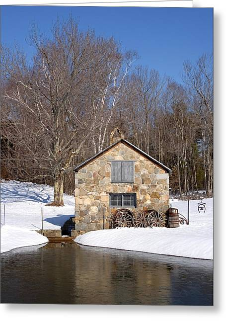 4 Stones Greeting Cards - Stone Shed Winter Greeting Card by Larry Landolfi