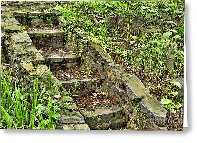 Overgrown Greeting Cards - Stone Staircase Greeting Card by Paul Ward