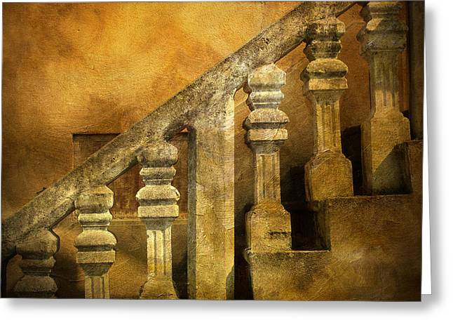 Stone Steps Greeting Cards - Stone stairs and balustrade. Greeting Card by Bernard Jaubert