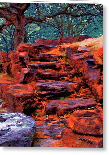 Stepping Stones Greeting Cards - Stone Steps in Autumn Greeting Card by Jeff Kolker