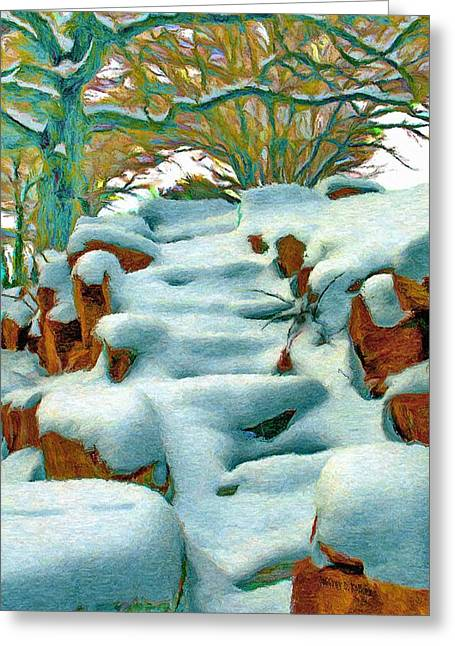 Stone Steps Digital Art Greeting Cards - Stone Steps in Winter Greeting Card by Jeff Kolker