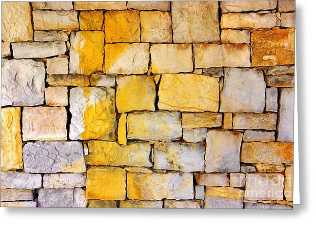 Surface Layer Greeting Cards - Stone Wall Greeting Card by Carlos Caetano