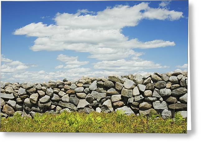Stones Photographs Greeting Cards - Stone Wall With Blue Sky And Clouds Greeting Card by Keith Webber Jr