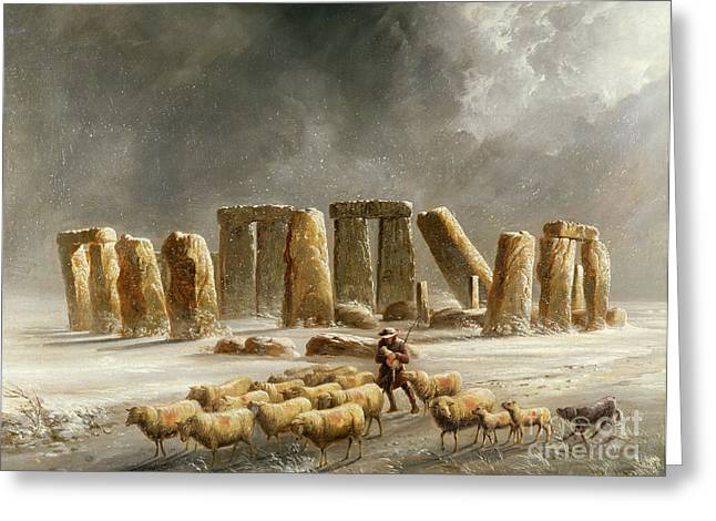 Dog In Snow Greeting Cards - Stonehenge in Winter  Greeting Card by Walter Williams