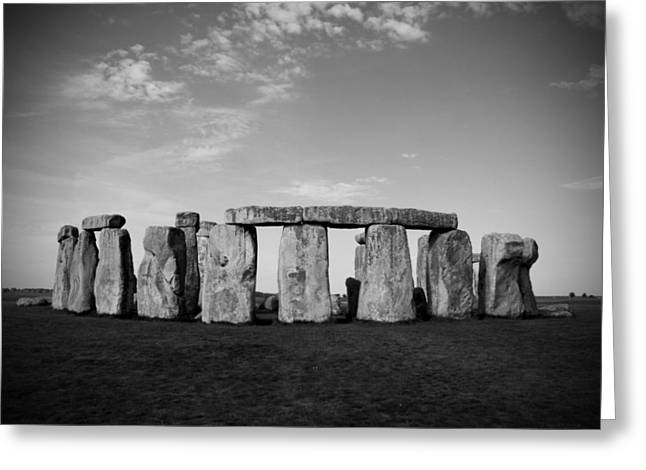 Stonehenge On a Clear Blue Day BW Greeting Card by Kamil Swiatek