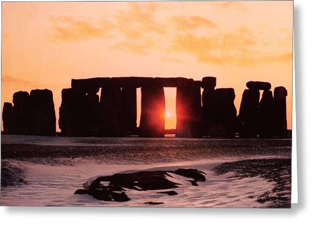 Stone Paintings Greeting Cards - Stonehenge Winter Solstice Greeting Card by English School