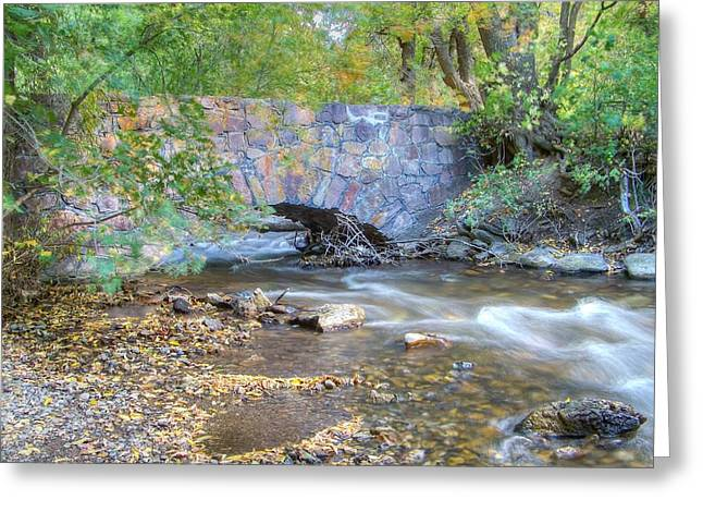 Stream Greeting Cards - Stony Bridge in Fall Greeting Card by Shirlene Davis