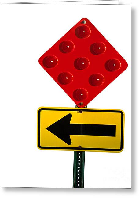 Roadblock Greeting Cards - Stop and turn street sign Greeting Card by Blink Images