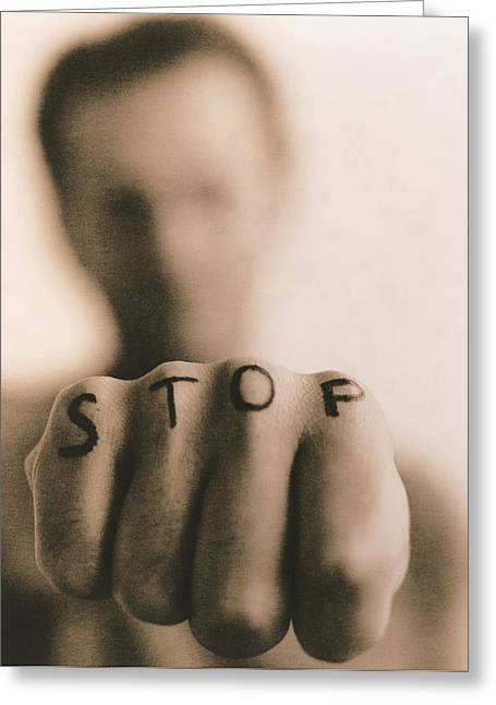 Clenched Fist Greeting Cards - Stop Greeting Card by Cristina Pedrazzini