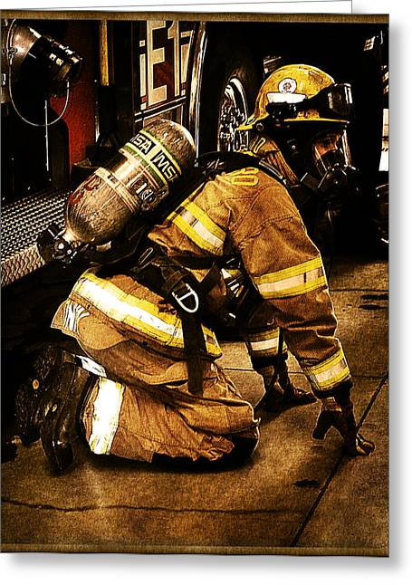 Fireman Boots Greeting Cards - Stop Drop Roll Greeting Card by Tricia Flinn