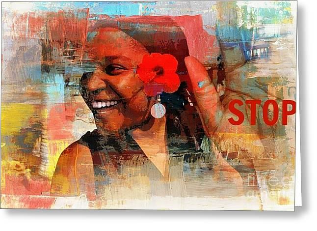 Stop Greeting Card by Fania Simon