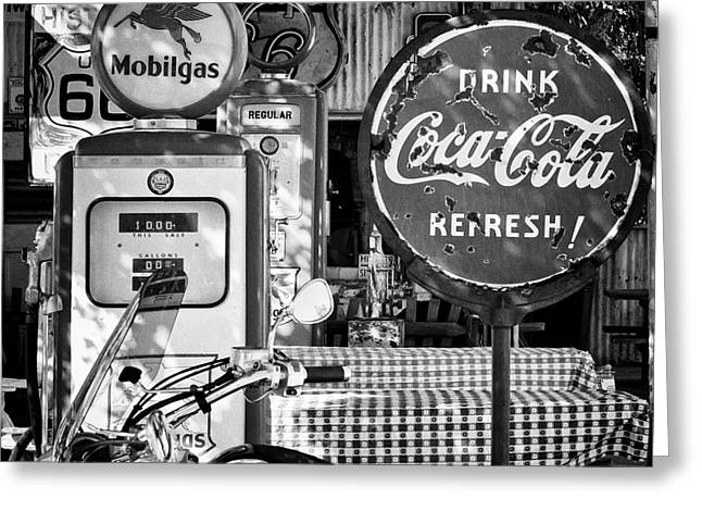 Historic Country Store Greeting Cards - Stop for gas and drink Greeting Card by Hideaki Sakurai