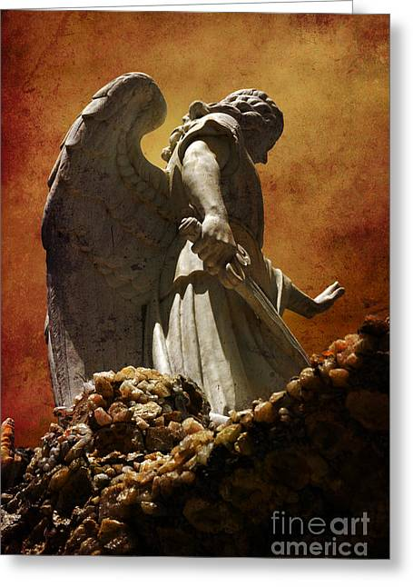 Angel Greeting Cards - STOP in the name of God Greeting Card by Susanne Van Hulst