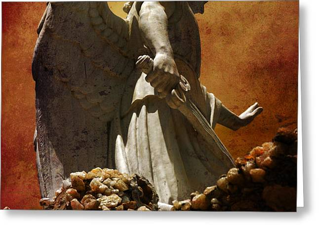 STOP in the name of God Greeting Card by Susanne Van Hulst