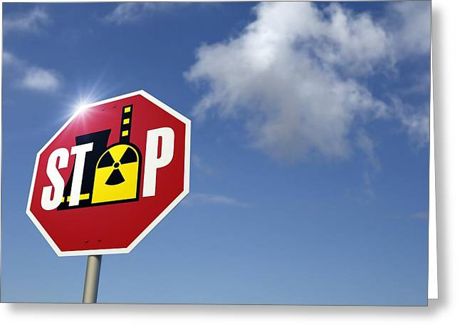 Protest Greeting Cards - Stop Nuclear Power, Conceptual Artwork Greeting Card by Detlev Van Ravenswaay